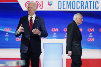 The withdrawal by Bernie Sanders, right, means former vice-president Joe Biden, left, will be the Democratic Party's presidential nominee in November.