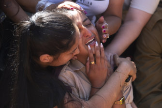 Friends and relatives of Israeli soldier Omer Tabib, 21, mourn during his funeral in the northern Israeli town of Elyakim.