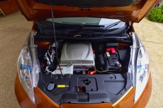 A peek under the hood of Brokhof's battery-powered car.