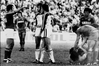Penrith's David Cartwright gets marched in a game against Parramatta in 1979.