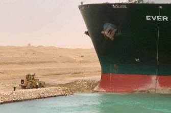 It could take weeks to dislodge the Ever Given vessel in the Suez Canal.