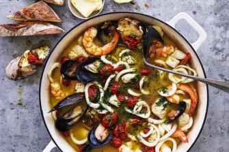 Prawn and mussel saffron stew.