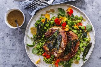 Pork chops with sage, bagna cauda and a minted broad bean and nasturtium salad.