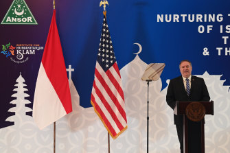 US Secretary of State Mike Pompeo delivers his speech at the Nahdlatul Ulama in Jakarta on Thursday. He renewed the Trump administration's rhetorical onslaught against China as the American presidential election looms.