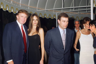 Donald Trump, his girlfriend (and future wife) Melania Knauss, Prince Andrew, Jeffrey Epstein and (far right) Ghislaine Maxwell at Trump's Mar-a-Lago estate in 2000.