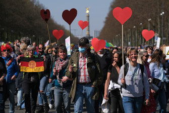 An anti-restrictions rally in Berlin in April.