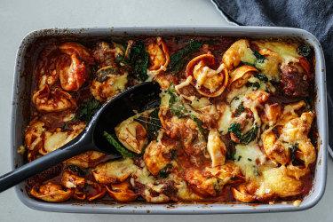 Sausage, kale and tortellini pasta bake.