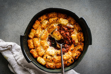 Chorizo and potato gem patatas bravas bake.