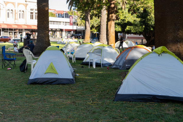About 80 tents have been pitched in Pioneer Park in Fremantle for homeless people.