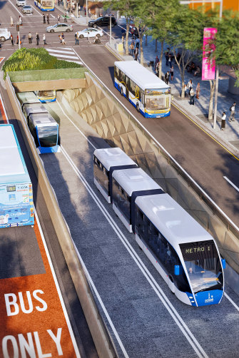 The Brisbane Metro project will see a 200-metre bus tunnel under Adelaide Street.