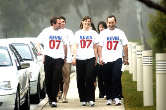 Kate Ellis, then a backbencher, and staff before the 2007 election.
