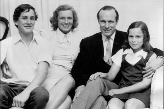 """Justice Street was tonight announced the new Chief Justice of NSW. From left: Alexander (Sandy), 15, Mrs Street, Mr Justice Street and Sarah, 11, 1974. """