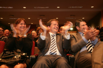 Bill Shorten with first wife Deborah Beale at the launch of his campaign as a Labor candidate in 2007.