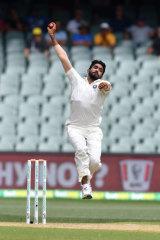 In full stride: Indian fast bowler Jasprit Bumrah.