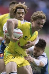 Back in gold: Henry Hutchison during the World Rugby Sevens Series in 2017.