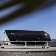 A passenger pod at the Virgin Hyperloop One test centre in Nevada.