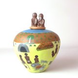 <p>Dawn Ngala Wheeler, <i>Damper Story</i> in <i>Clay Stories</i> at Strathnairn Gallery.</p>