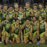 Team Rampage celebrate after winning the AFLX grand final against the Flyers.