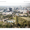 The plans for the new $77 million Parramatta Pool on land that sits next to Parramatta High in the Mays Hill precinct.