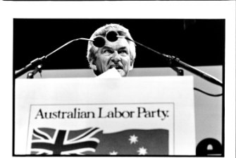 Bob Hawke delivers his election policy speech at Sydney Opera House. February 16, 1983.