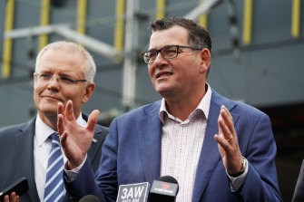Prime Minister Scott Morrison and Premier Daniel Andrews outline options for an airport rail link earlier this year.