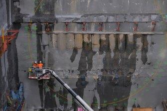 Work on the West Gate Tunnel in Footscray last week.