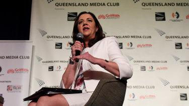 Premier Annastacia Palaszczuk speaking at the Queensland Media Club on Friday.