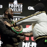 Fury, Wilder in pre-fight shoving match