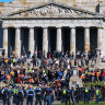 Police and protesters face-off at the Shrine of Remembrance on Wednesday.