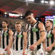 PERTH, AUSTRALIA - AUGUST 02: Brayden Maynard of the Magpies walks from the field after being defeated during the round nine AFL match between the Fremantle Dockers and the Collingwood Magpies at Optus Stadium on August 02, 2020 in Perth, Australia. (Photo by Paul Kane/Getty Images)