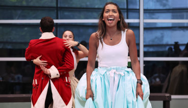 Chloé Zuel during rehearsals for the Australian production of Hamilton.