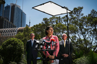 Premier Gladys Berejiklian, with Treasurer Dominic Perrottet and Health Minister Brad Hazzard, announced restrictions would ease for outdoor concerts and venues.