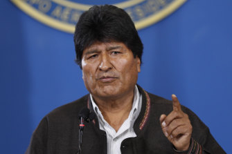 """Bolivia's President Evo Morales urged police to """"preserve the security"""" of Bolivia and uphold the rules during a press conference at the military airport in El Alto, Bolivia."""