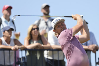 Cameron Smith plays a shot at the third at Royal St George's on Sunday (local time).