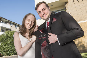 Jonathon Anslow has the date of his pandemic nuptials sewn into his wedding jacket.