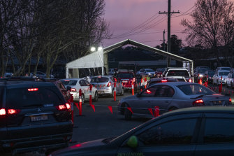 Long queues for a 24-hour COVID-19 testing centre in Sydney's west.
