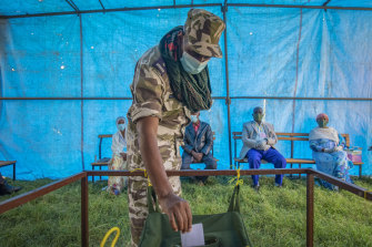 A September 9 photo of a member of the Tigray Special Forces casting his vote in a local election in the regional capital Mekelle.