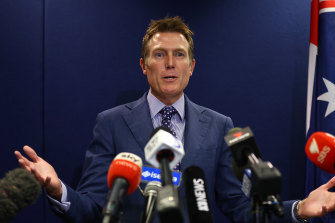 Attorney-General Christian Porter addressing the media on Wednesday.
