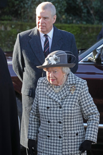 "Prince Andrew, seen here with the Queen at Sandringham in January, has been described as ""the spare she had for herself once she had produced the heir"" - her first-born Charles."