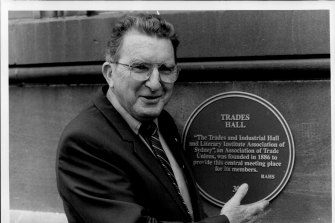 Vince Higgins, Trades Hall chairman, outside the old building, 1987.