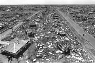 "The aftermath of Cyclone Tracy: it was so bad the name has been ""retired"" by meteorologists."