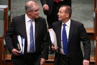 Scott Morrison with then-Prime Minister Tony Abbott in June 2015.