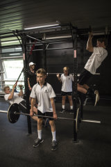 Newington College boys working out in the gym.