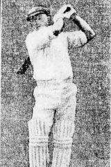 Bradman batting in the second innings, scoring his first century.