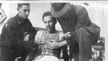 John Landy after breaking the NSW mile record in March, 1953.