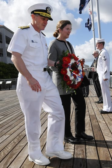 Vice-Admiral Sawyer and Ms Fowler lay a wreath during the ceremony on Wednesday.