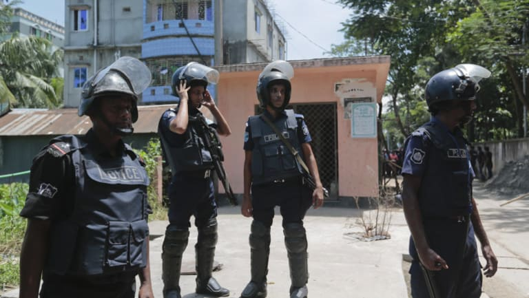Bangladesh policemen after a terror raid near Dhaka, Bangladesh in 2016.