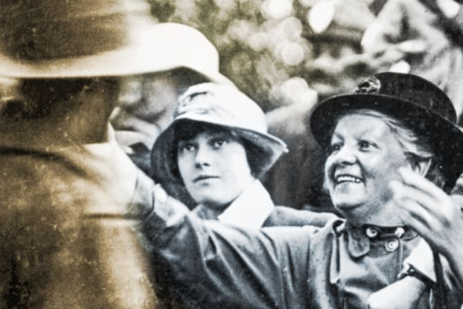 A mother greets her son, who has survived the Great War.