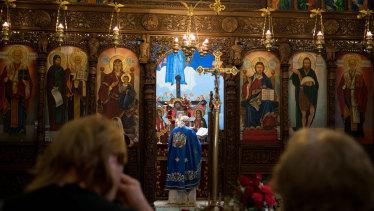 Macedonian Orthodox Pope leading Christmas mass