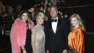 Former deputy prime minister Julie Bishop, second from left, at the 2019 Gold Dinner.